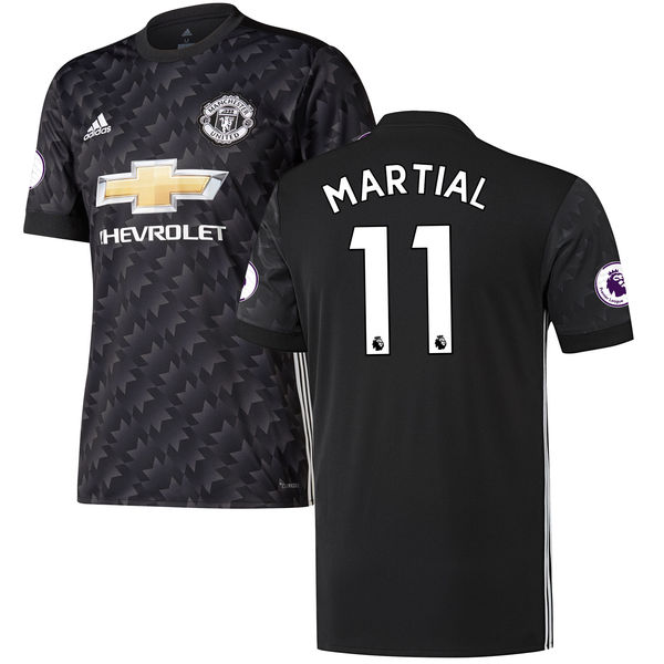 Men's adidas Anthony Martial Black Manchester United 2017/18 Away Replica Jersey