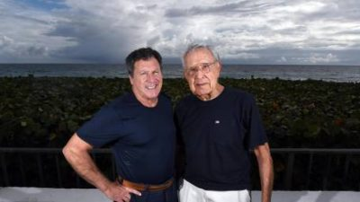 Storm Field (l), who reported the weather for several New York TV stations, is now retired and living in Florida near his dad, the pioneering TV meteorologist Dr. Frank Field (right).