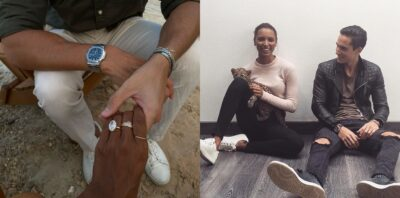 Jasmine Tookes Engagement ring and Juan with his fiance Model Tookes Photo