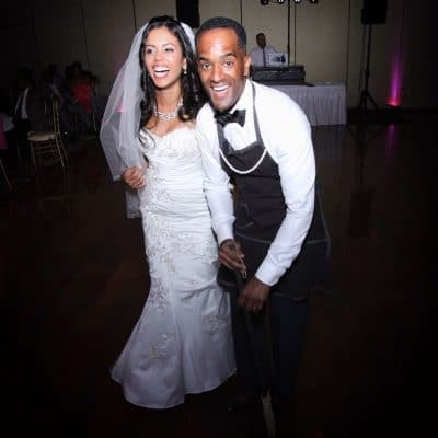 A photo of Rodney and his wife on their wedding day.