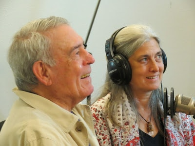 Robin Rather and her father Dan Rather on Rag Radio, Friday, September 27, 2013, in the studios of KOOP-FM in Austin, Texas.